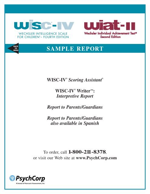 WISC IV With WIAT II Writer Interpretive Sample Report