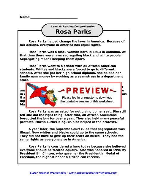 Rosa Parks - Super Teacher Worksheets
