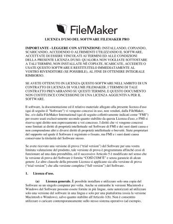 LICENZA D'USO DEL SOFTWARE FILEMAKER PRO IMPORTANTE ...