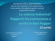 Epistemologia - 2a parte (prof.ssa Pisana) - Liceo Scientifico E. Fermi