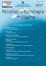 In questo numero: - Ordine degli Psicologi della Liguria
