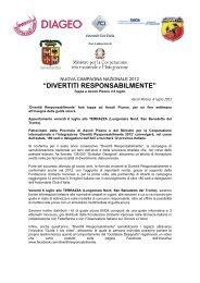 Comunicato ACI-Diageo - Automobile Club Ascoli Piceno - Fermo