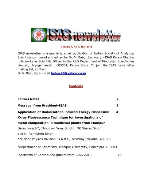 ISAS NEWS LETTER Volume 3, No  3 , July 2011 - Indian