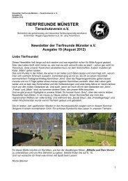 Newsletter der Tierfreunde Münster eV Ausgabe 19 (August 2012)