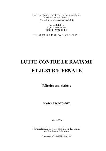 Lutte contre le racisme et justice pénale. Rôle des ... - Cesdip
