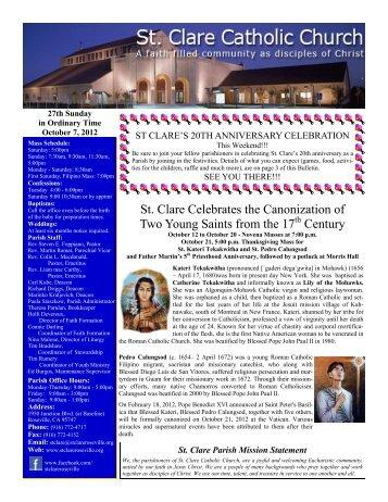 St. Clare Celebrates the Canonization of Two ... - St. Clare Parish