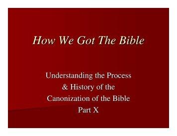 How We Got The Bible - Alfred Street Baptist Church