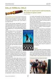 DALLA TERRA AL CIELO - Associazione Astronomica Cortina