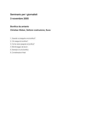 Titel: Bonifica da amianto - FACH - SuvaPro - Forum Asbest Schweiz