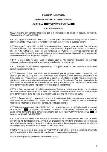 Delibera 58/11/CRL - Corecom Lazio