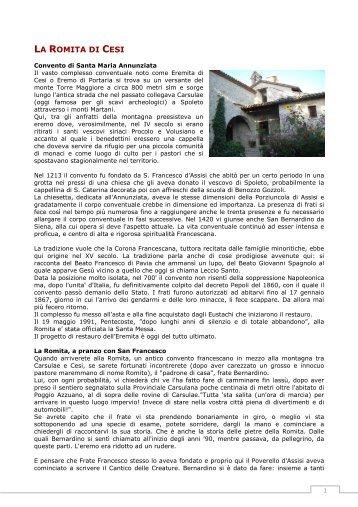 LA ROMITA DI CESI - Parrocchia San Michele Arcangelo - Calino