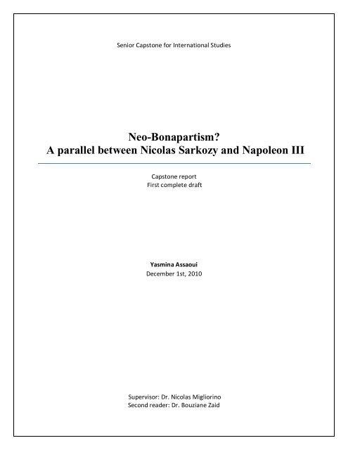 Neo Bonapartism A Parallel Between Nicolas Sarkozy And
