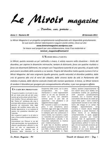Le Miroir cartaceo #0 [Gennaio 2011]