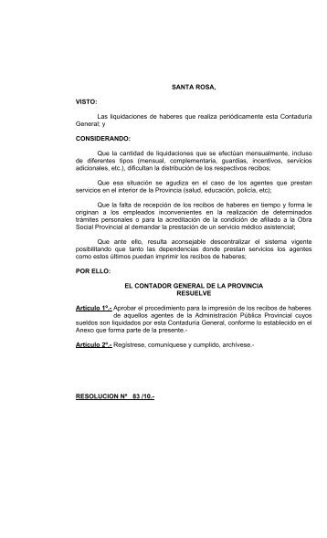 Resolución 83/2010 - Ministerio de Cultura y Educación   La Pampa