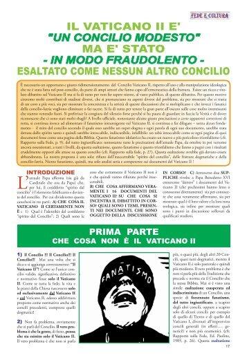 """IL VATICANO II E' """"UN CONCILIO MODESTO"""" MA ... - Fede e Cultura"""