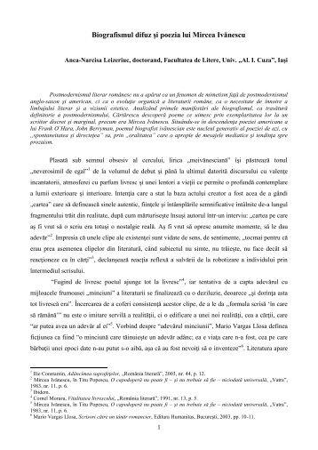 Biogarfismul difuz şi poezia lui Mircea Ivănescu