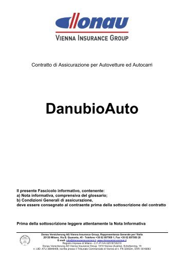 Fascicolo Informativo DanubioAuto DonIT094 – Ed.11 2010 - Donau