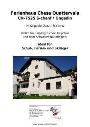 Ferienhaus Chesa Quattervals - CONTACT groups.ch