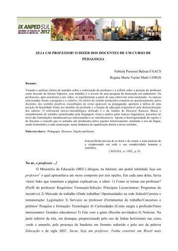 SEJA UM PROFESSOR! O DIZER DOS DOCENTES DE UM ... - UCS