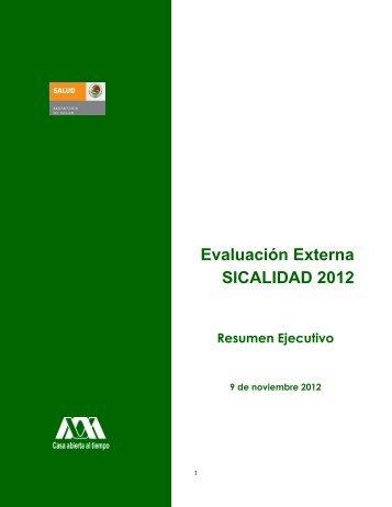 Evaluación Externa SICALIDAD 2012