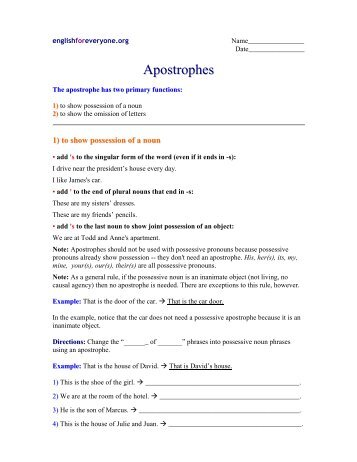 Apostrophes - Super Teacher Worksheets
