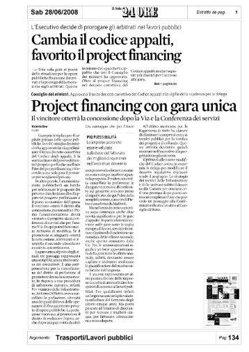 Project financing con gara unica - Itaca