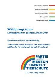Wahlprogramm - Partei Mensch Umwelt Tierschutz