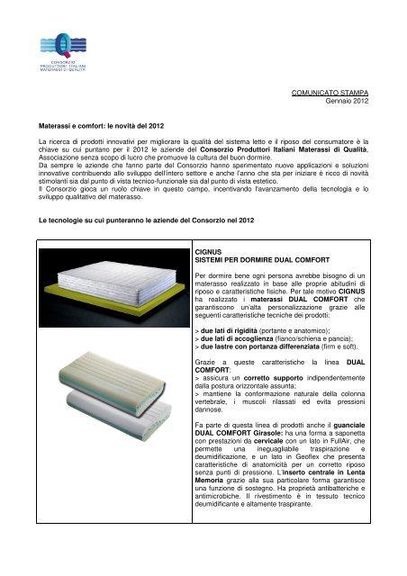 Materassi Produttori.Comunicato Pdf Consorzio Produttori Italiani Materassi Di Qualita