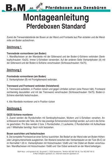 Montageanleitung Pferdeboxen Standard - B+M Haus- und ...