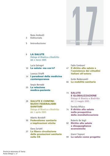 Remo Andreolli 3 Editoriale 5 Introduzione 9 LA ... - Trentino Salute