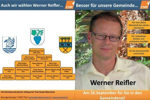 Auch wir wählen Werner Reifler… - CVP, Thal Staad Altenrhein