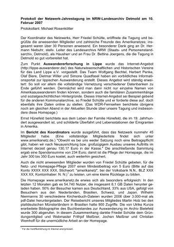 Protokoll der 4. Netzwerktagung (10.02.2007 ... - Amerikanetz