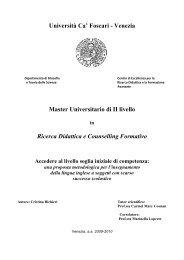 Venezia Master Universitario di II livello Ricerca ... - Università Ca