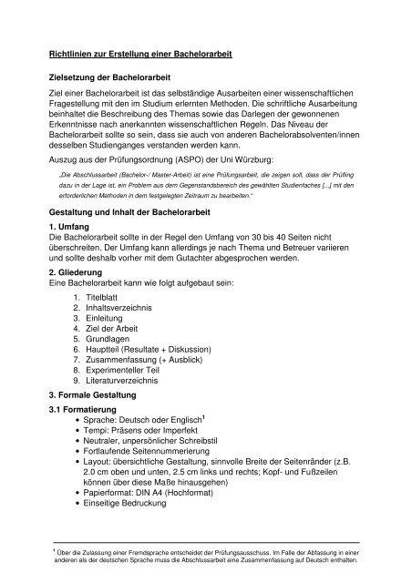 Richtlinien Bachelorarbeit Universität Würzburg