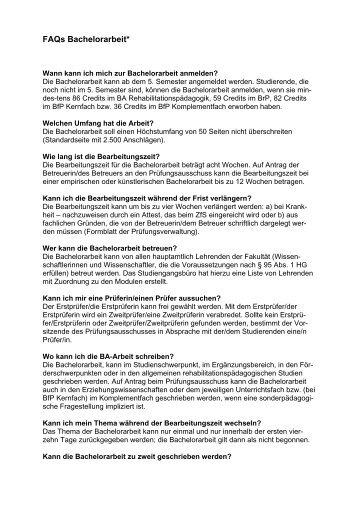 Informationen zur Bachelorarbeit - Fakultät ...