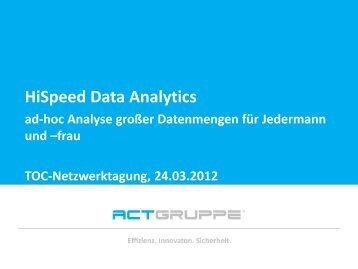 Vielen Dank für Ihre Aufmerksamkeit! HiSpeed Data Analytics