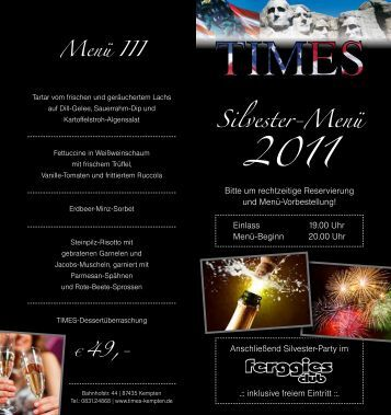 Silvester-Menü 2011 - Times in Kempten
