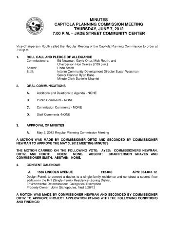 minutes capitola planning commission meeting ... - City of Capitola