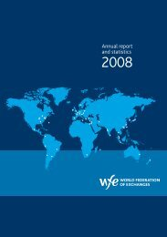 Annual report and statistics 2008 - World Federation of Exchanges