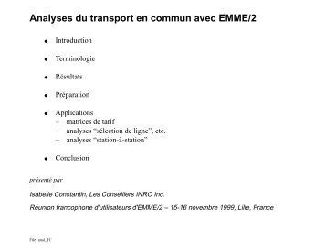 Analyses du transport en commun avec EMME/2 - Inro