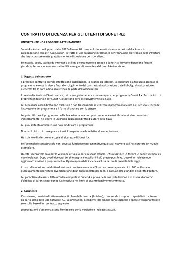 CONTRATTO DI LICENZA PER GLI UTENTI DI ... - BBT Software