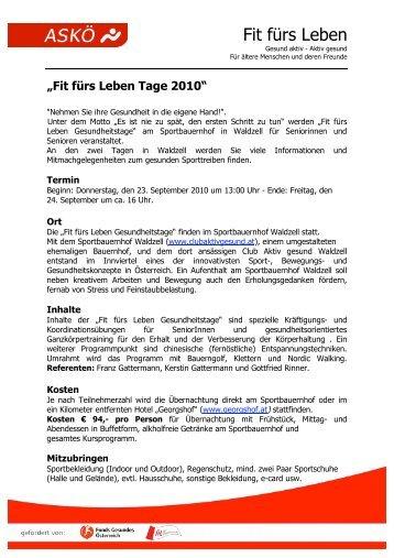 Fit fürs Leben Tage 2010 - ASKÖ Salzburg