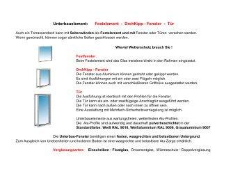 Unterbauelement: Festelement - DrehKipp - Fenster - Tür