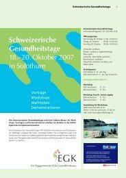 Schweizerische Gesundheitstage 18.–20. Oktober 2007 in Solothurn