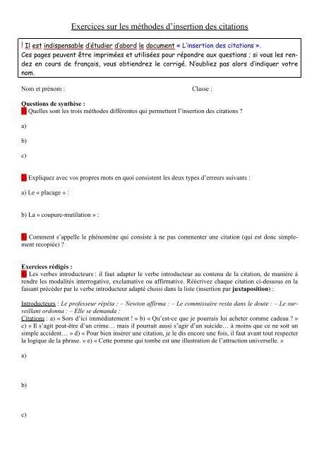 Exercices Sur L Insertion Des Citations