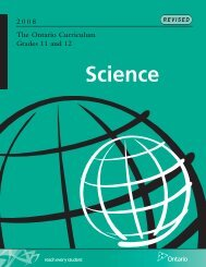 The Ontario Curriculum, Grades 11 and 12: Science, 2008 (revised)