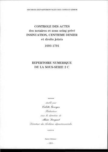 Série 2C - Archives départementales des Côtes d'Armor