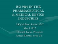 Iso 9001 in the pharmaceutical & medical device - ASQ-Madison ...