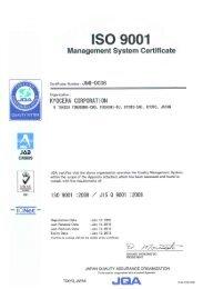 ISO9001 - KYOCERA Solar