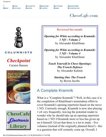 A Complete Kramnik - Chess Cafe